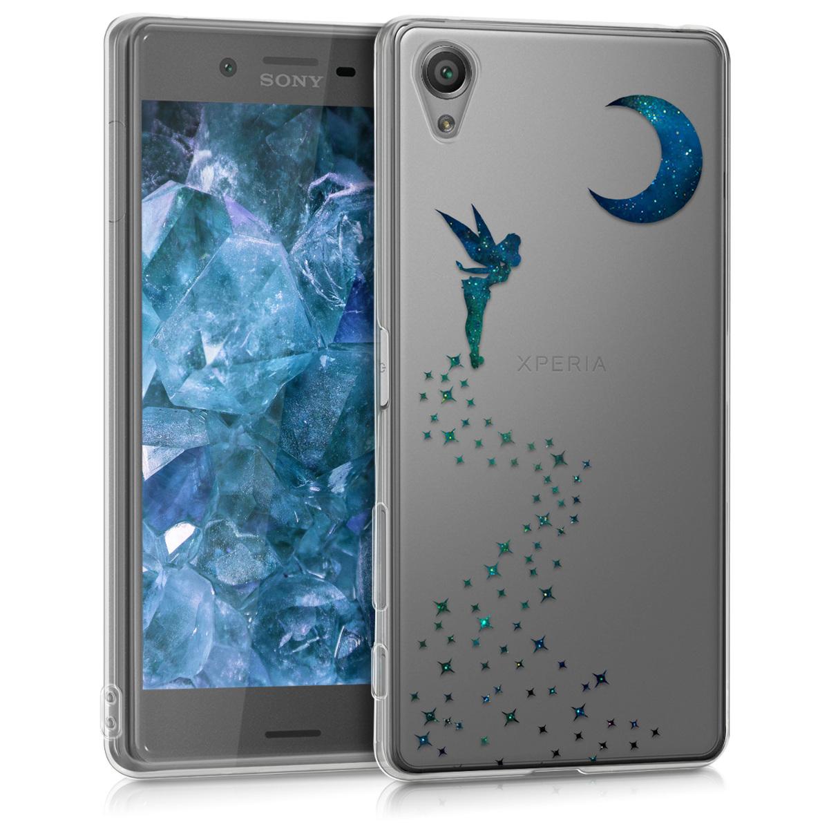Kvalitní silikonové TPU pouzdro | obal pro Sony Xperia X - víla tmavé modré / Benzin / průhledné