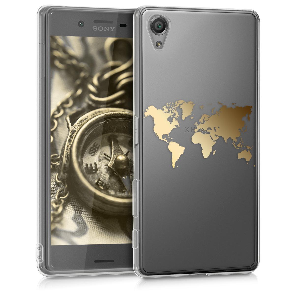 Kvalitní silikonové TPU pouzdro | obal pro Sony Xperia X - Travel Outline zlaté / průhledné