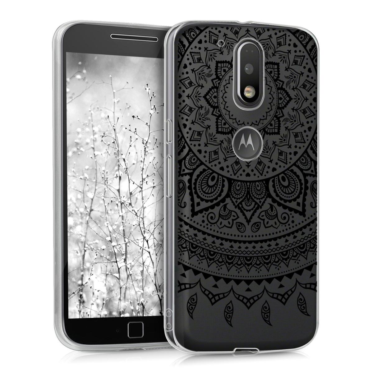 Kvalitní silikonové TPU pouzdro | obal pro Motorola Moto G4 / Moto G4 Plus - Indiánské slunce Černá / průhledná