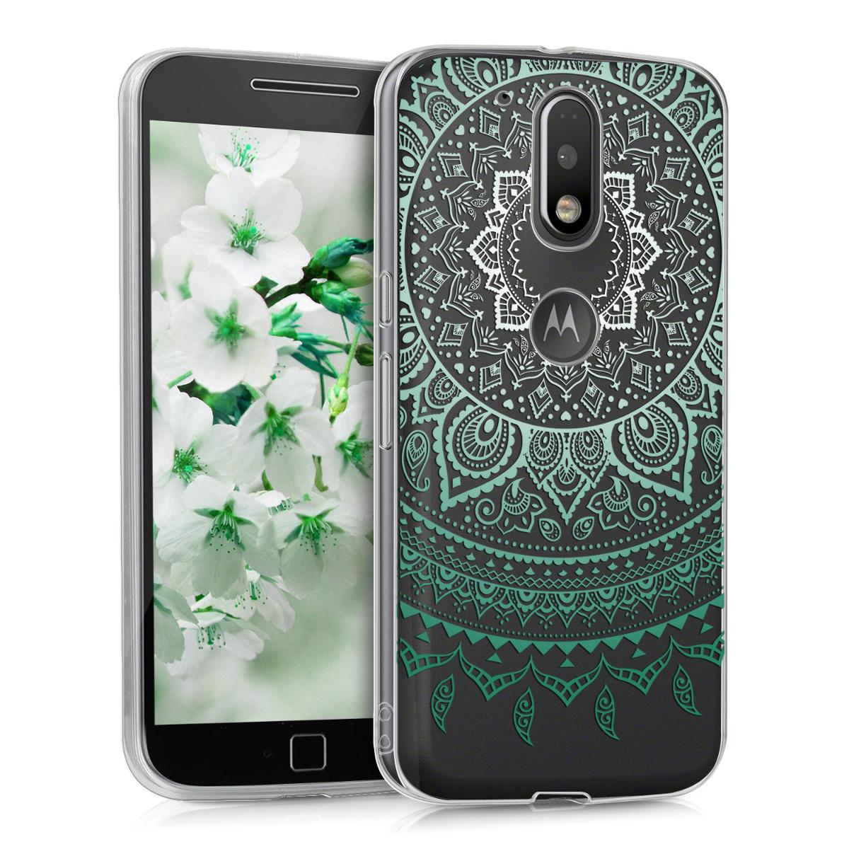 Kvalitní silikonové TPU pouzdro | obal pro Motorola Moto G4 / Moto G4 Plus - Indiánské slunce Mátová / Bílá / Průhledná