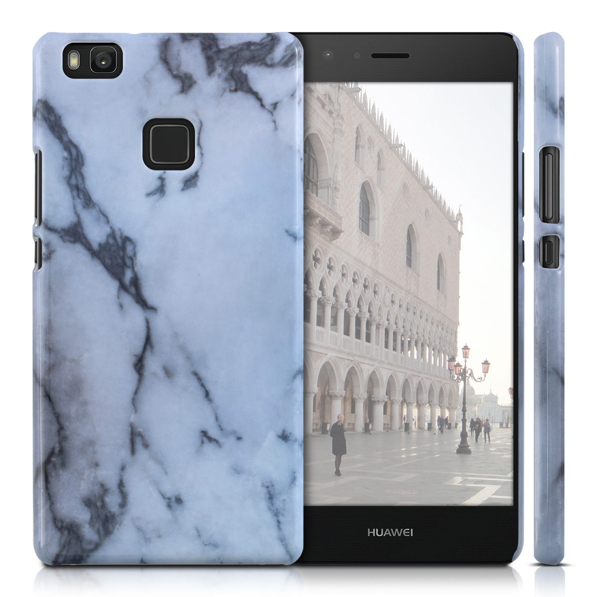 kwmobile schutz h lle f r huawei p9 lite marmor wei case cover bumper handy ebay. Black Bedroom Furniture Sets. Home Design Ideas