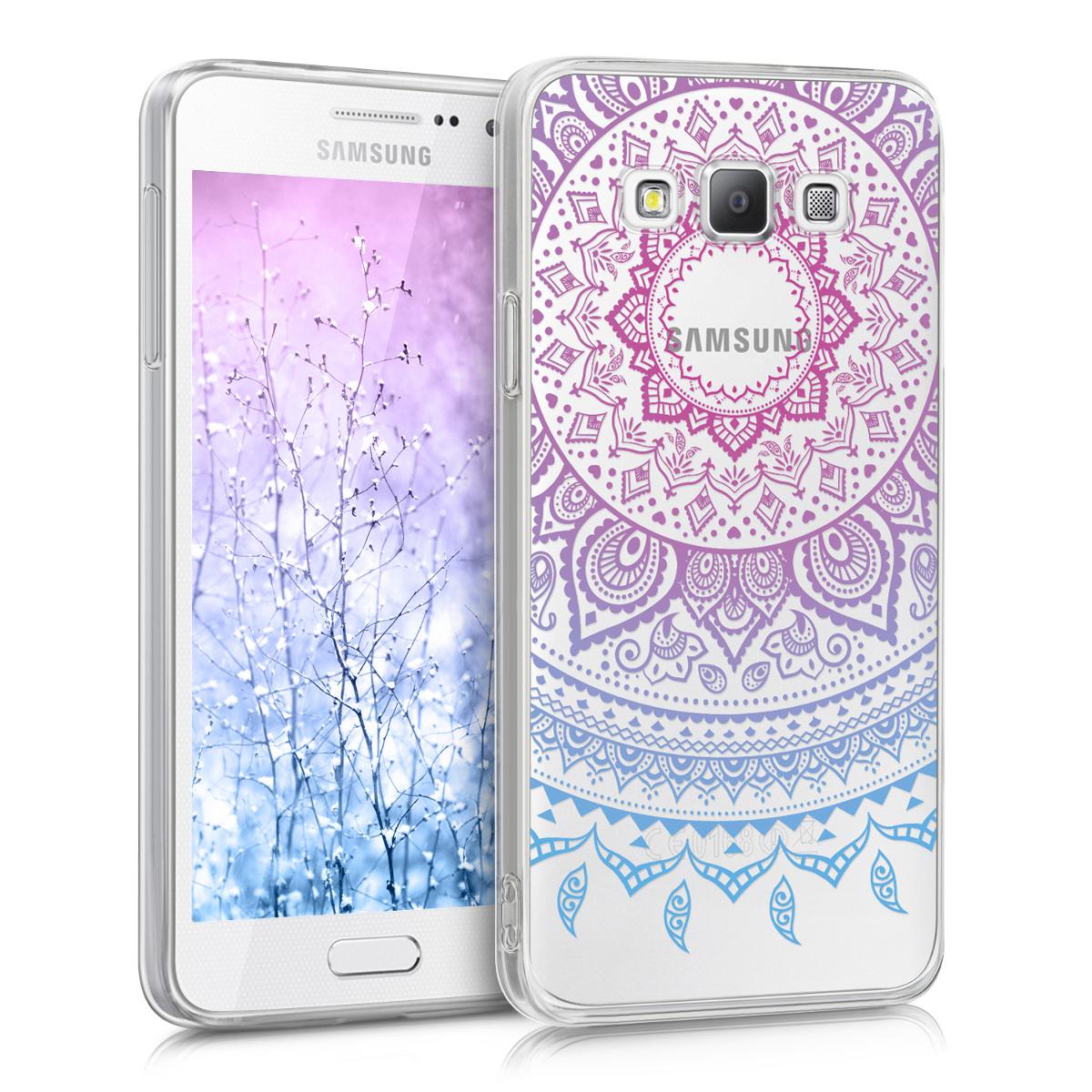 Kvalitní silikonové TPU pouzdro pro Samsung A3 (2015) - indické slunce modré / tmavě růžová / transparentní