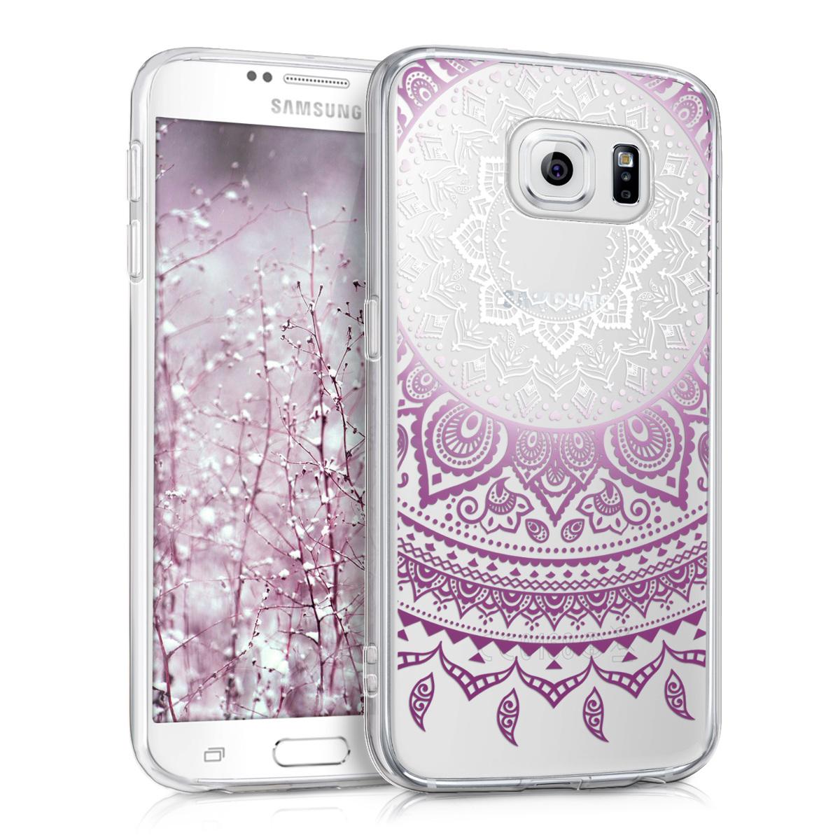 Kvalitní silikonové TPU pouzdro pro Samsung S6 | S6 Duos - indické slunce fialové / bílé / transparentní