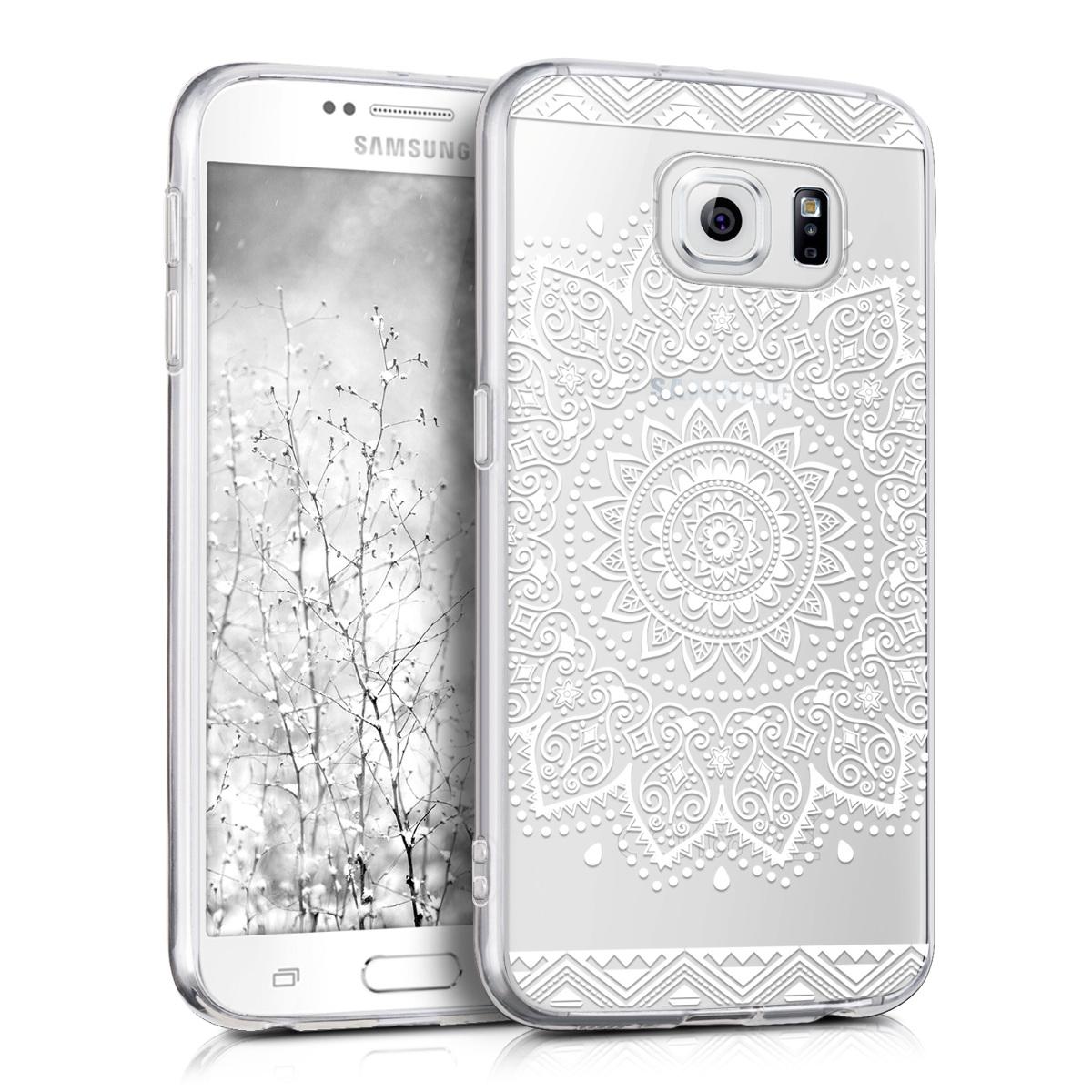Kvalitní silikonové TPU pouzdro pro Samsung S6 | S6 Duos - květiny bílé / transparentní
