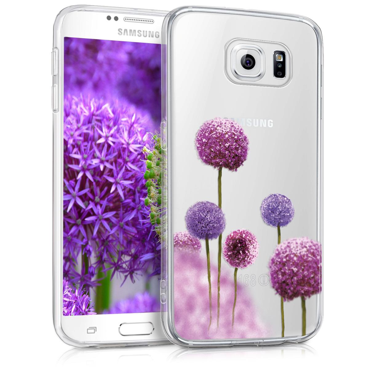 Kvalitní silikonové TPU pouzdro pro Samsung S6 | S6 Duos - Květina koule tmavě růžová / fialová / transparentní