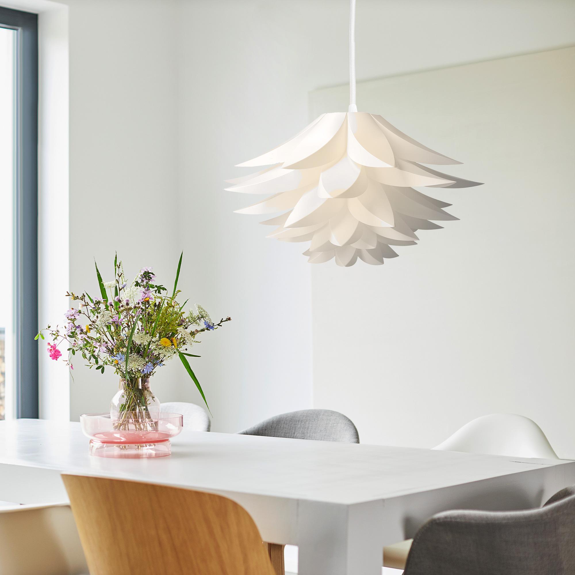 diy lampe puzzle lampenschirm lotus design schirm deckenlampe max 50cm wei ebay. Black Bedroom Furniture Sets. Home Design Ideas