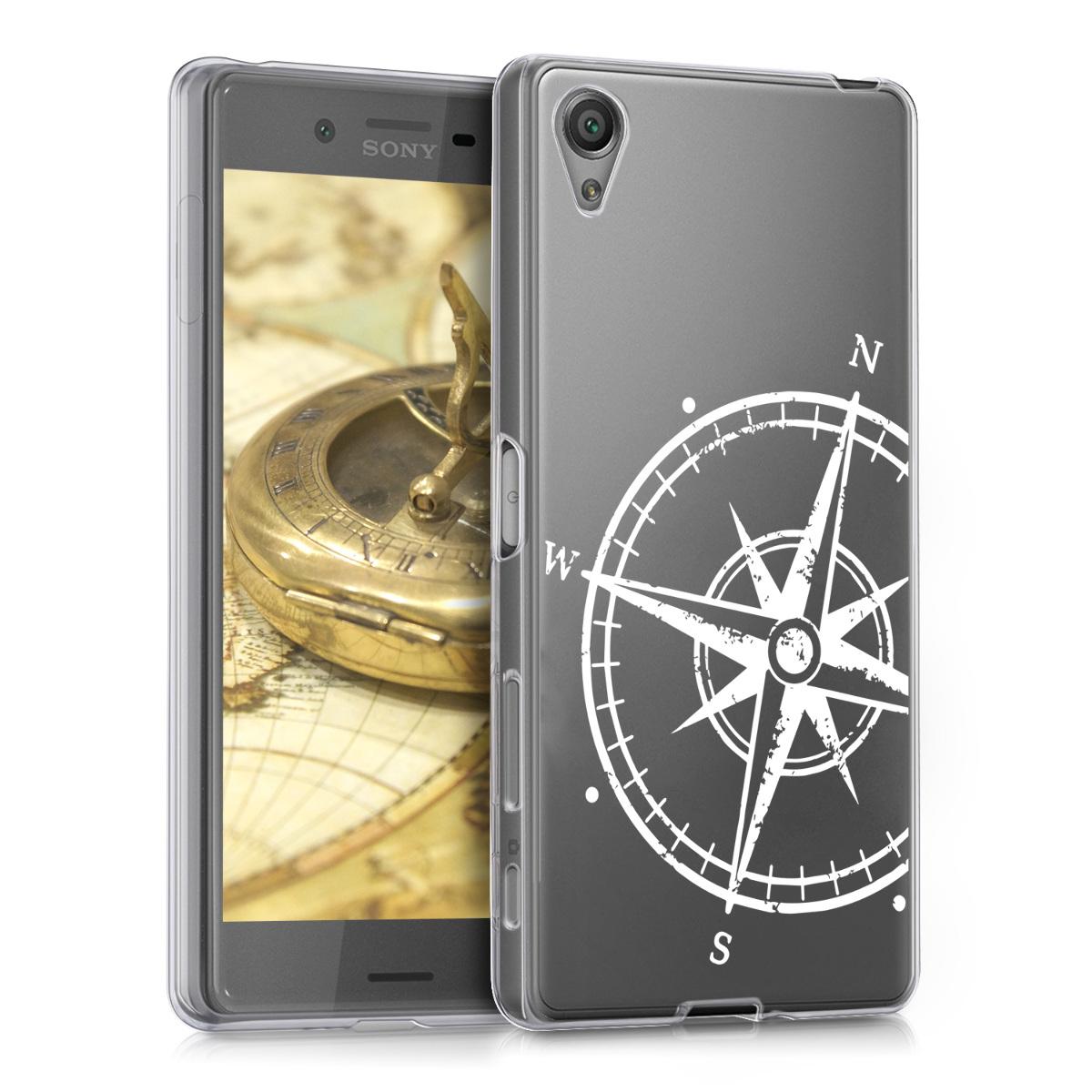 Kvalitní silikonové TPU pouzdro | obal pro Sony Xperia X - Navigační kompas bílé / průhledné