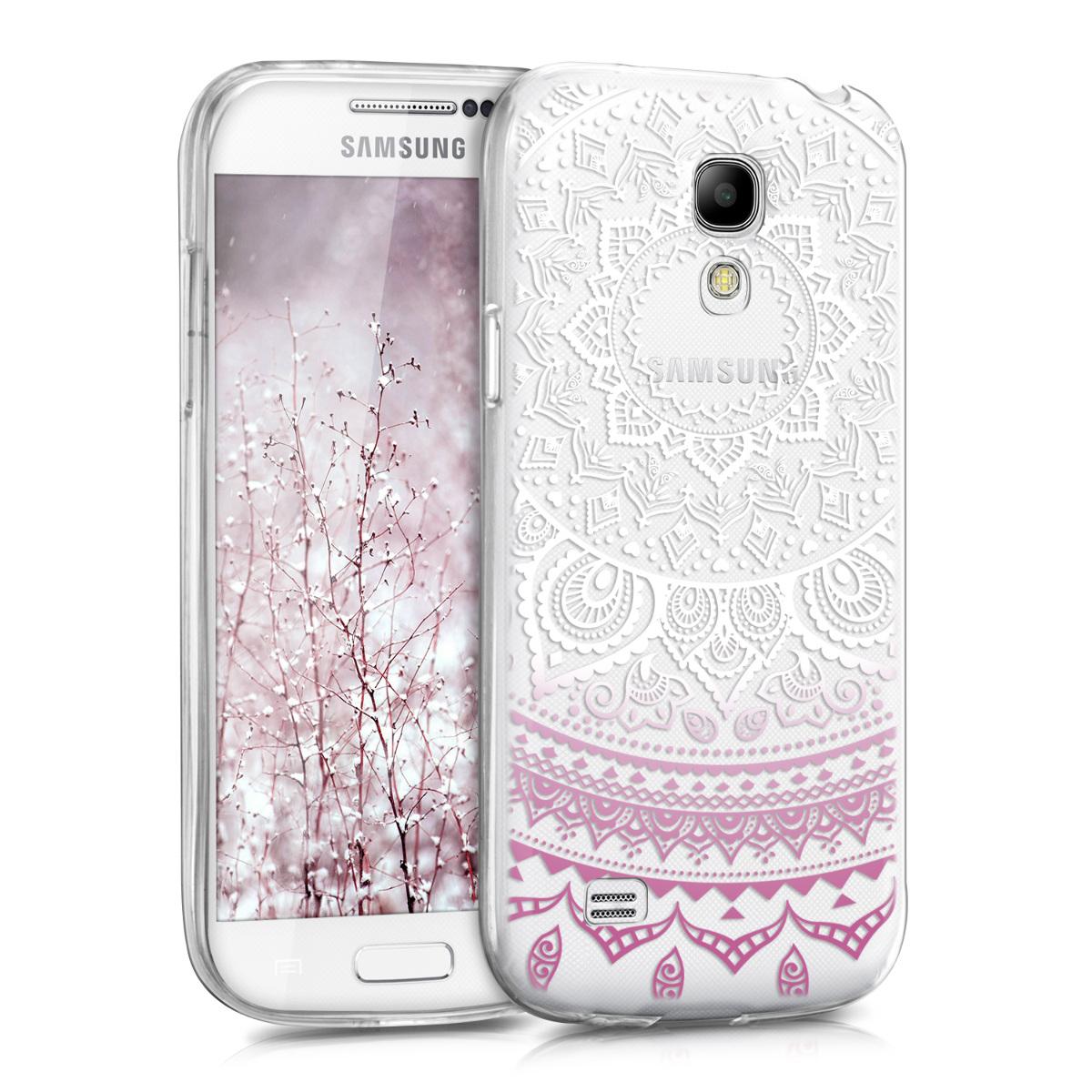 Kvalitní silikonové TPU pouzdro pro Samsung S4 Mini - indické slunce fialové / bílé / transparentní