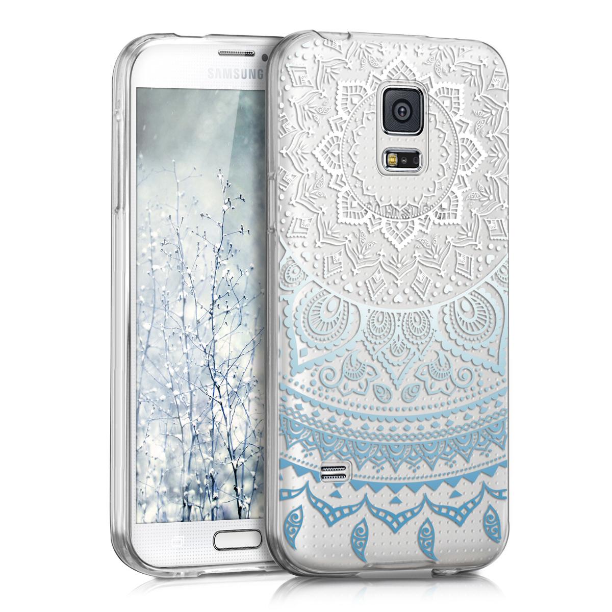 Kvalitní silikonové TPU pouzdro pro Samsung S5 Mini G800 - indické slunce modré / Bílá / Průhledná