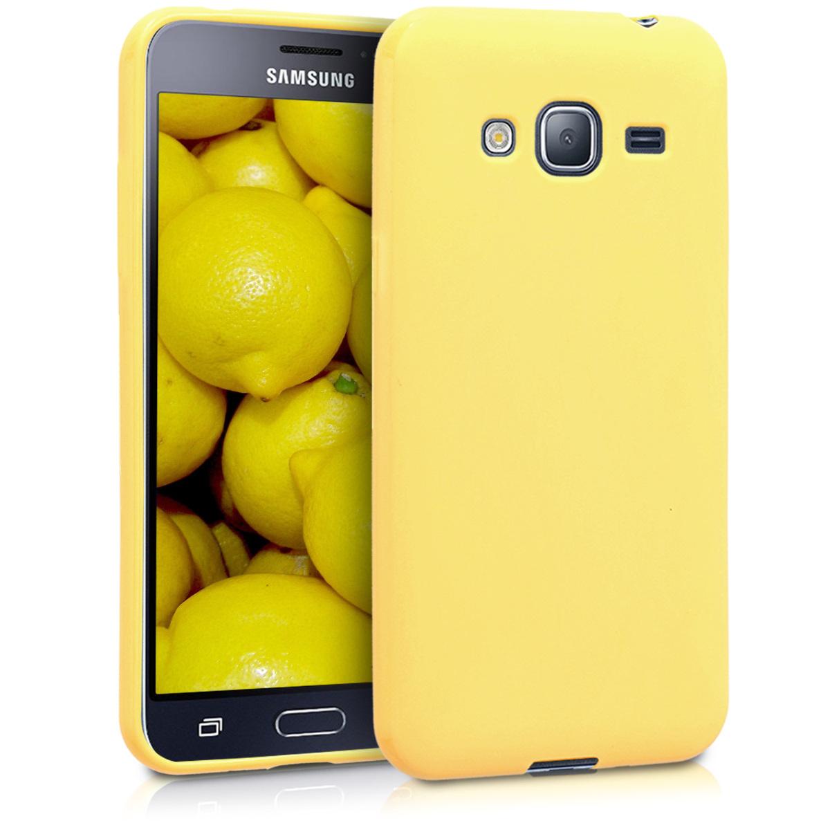 Kvalitní silikonové TPU pouzdro pro Samsung J3 (2016) DUOS - žluté matné