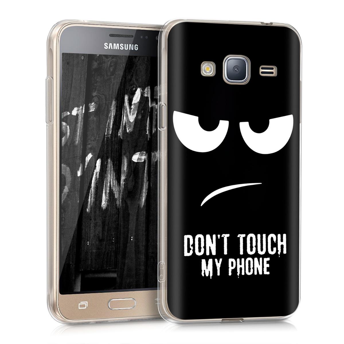 Kvalitní silikonové TPU pouzdro pro Samsung J3 (2016) DUOS - Nedotýkejte My Phone bílé / černé