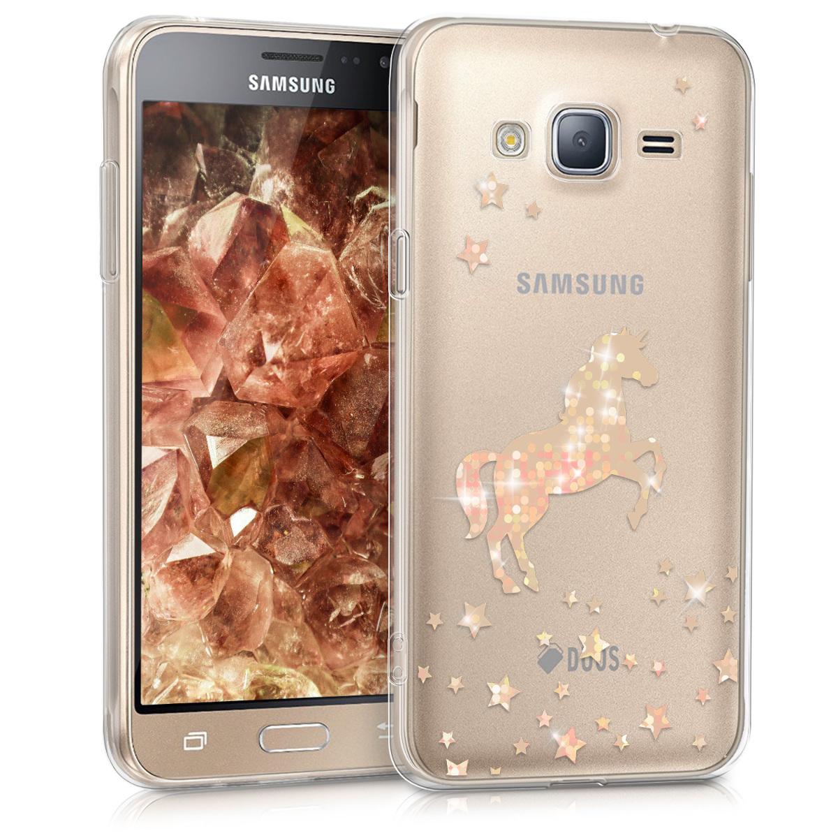 Kvalitní silikonové TPU pouzdro pro Samsung J3 (2016) DUOS - Unicorn starorůžové rosegold / transparentní