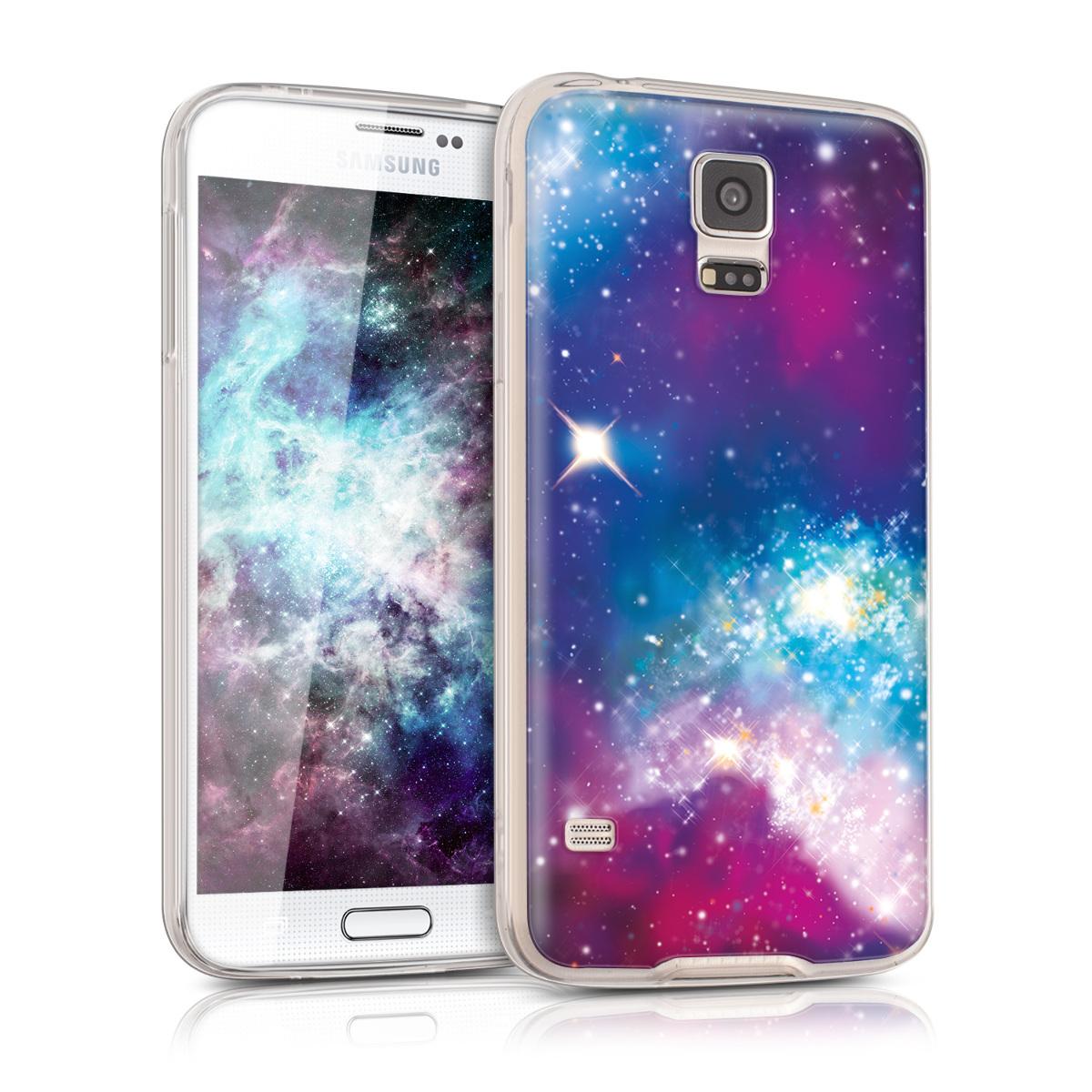 Kvalitní silikonové TPU pouzdro pro Samsung S5 | S5 Neo - Outer Space Multicolor / tmavě růžová / černé