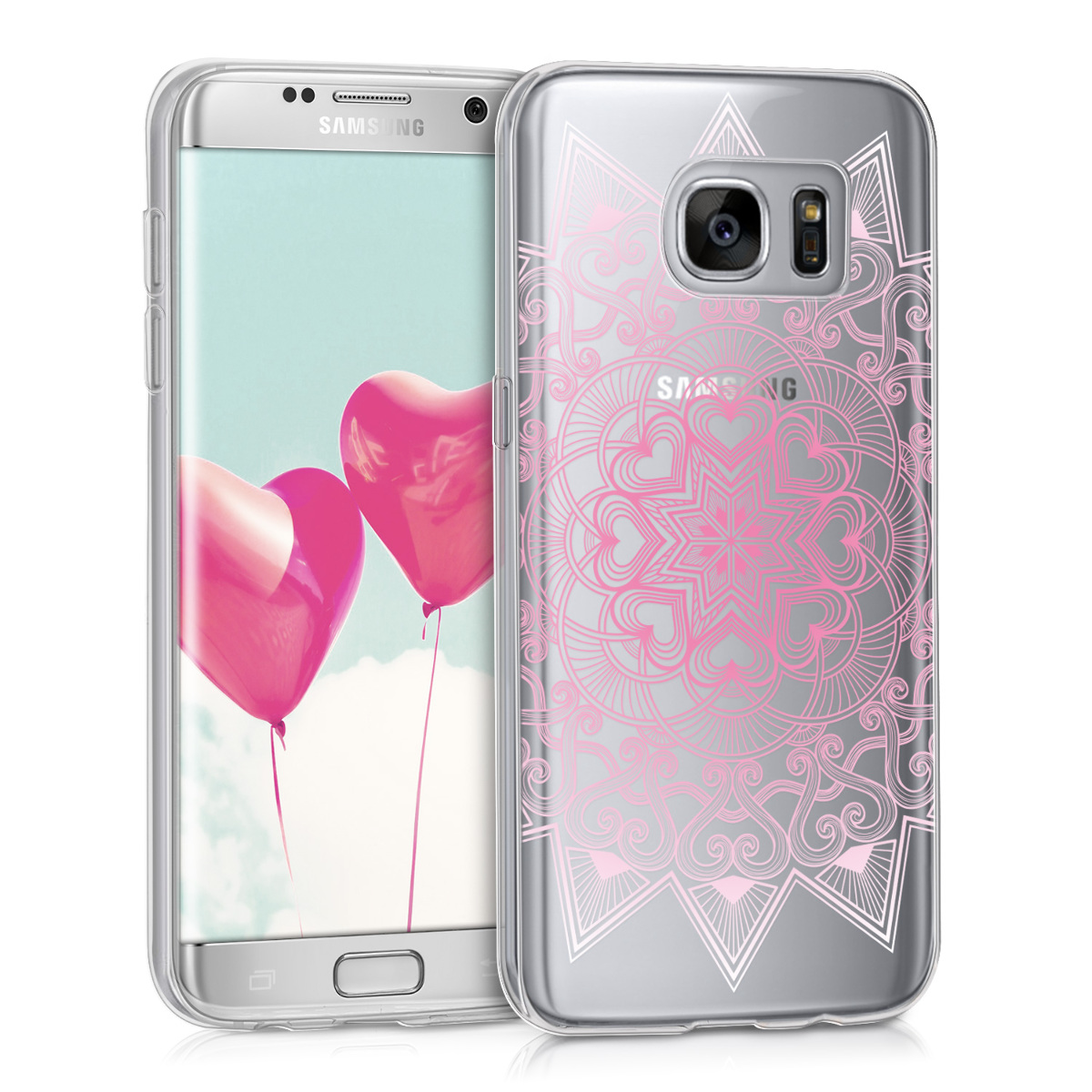 Kvalitní silikonové TPU pouzdro pro Samsung S7 Edge - Heart Pattern růžové / bílé / transparentní