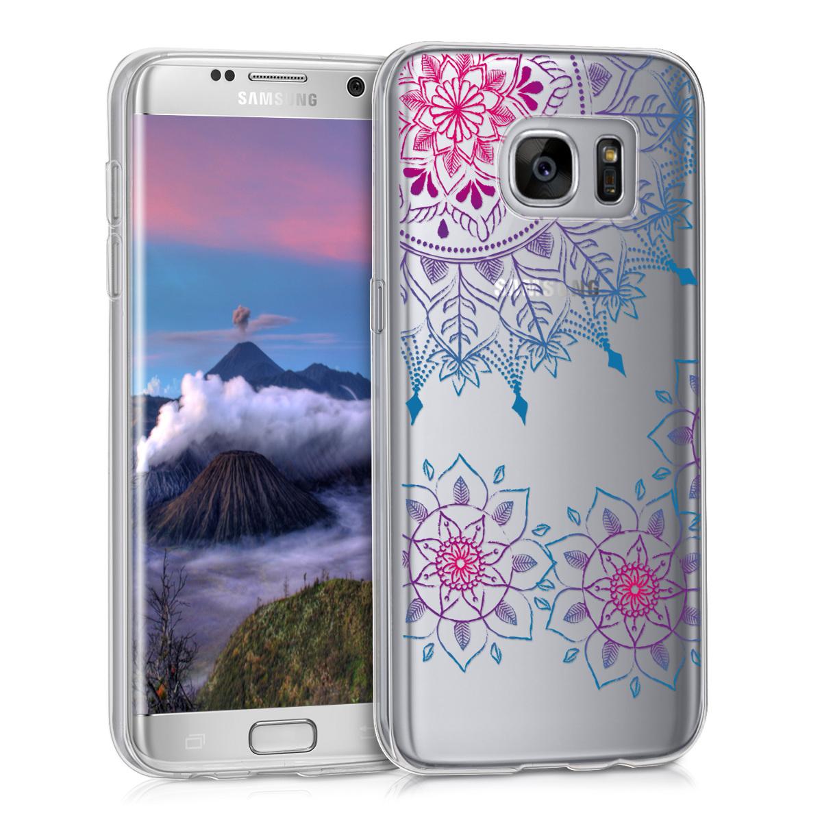 Kvalitní silikonové TPU pouzdro pro Samsung S7 Edge - Vintage květiny Ring tmavě růžová / modré / průhledná