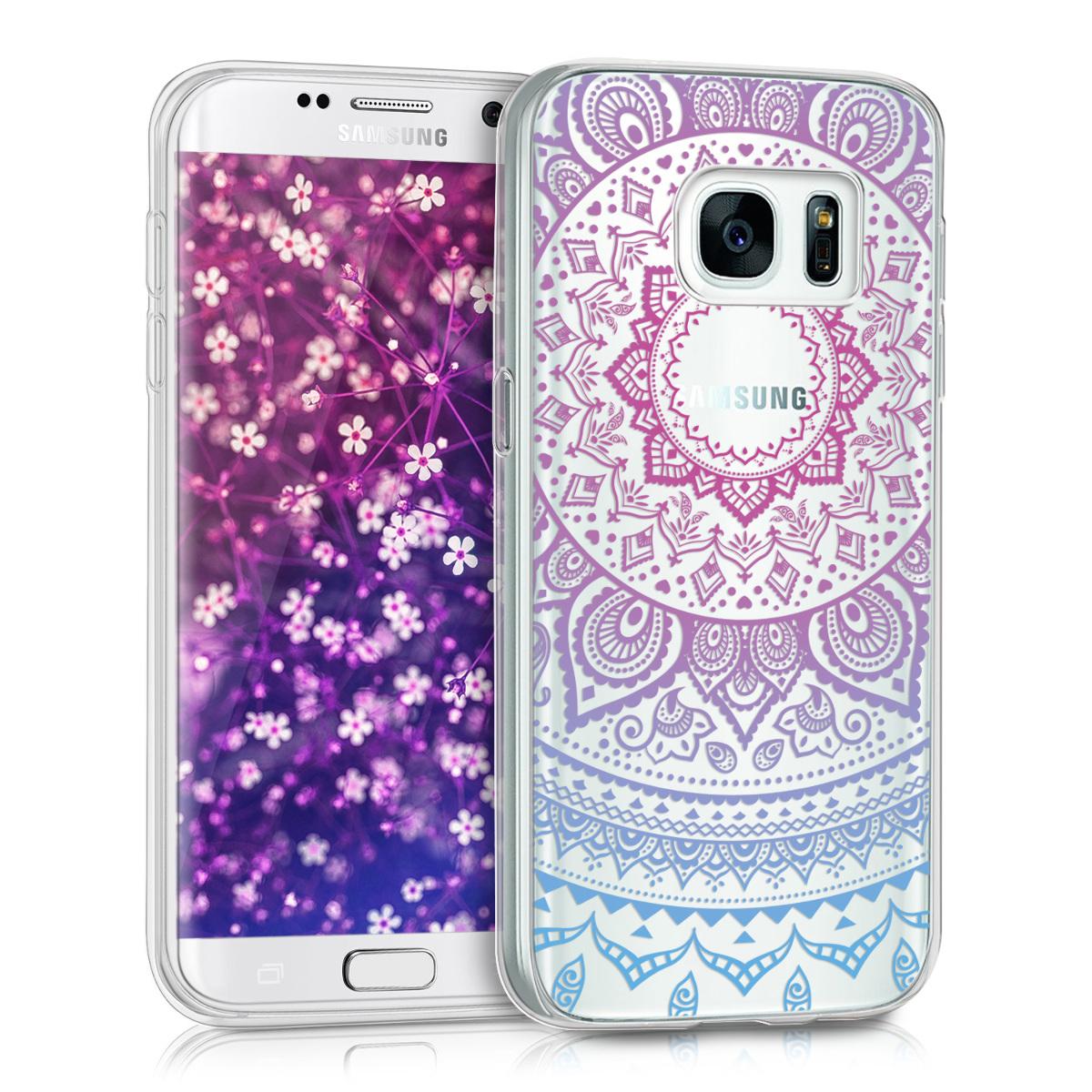Kvalitní silikonové TPU pouzdro pro Samsung S7 - indické slunce modré / tmavě růžová / transparentní
