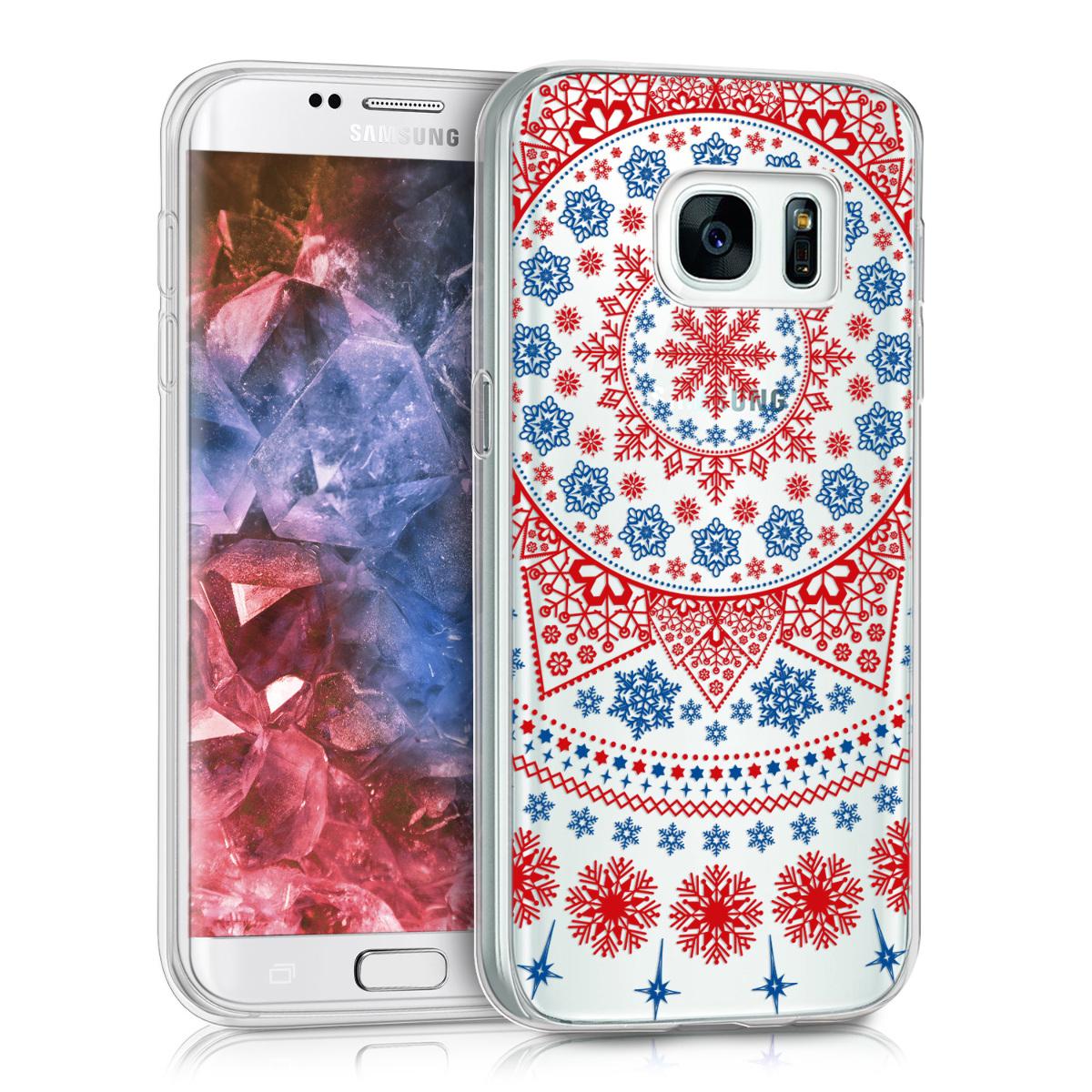 Kvalitní silikonové TPU pouzdro pro Samsung S7 - Arctic Snowflake červená / modré / průhledná