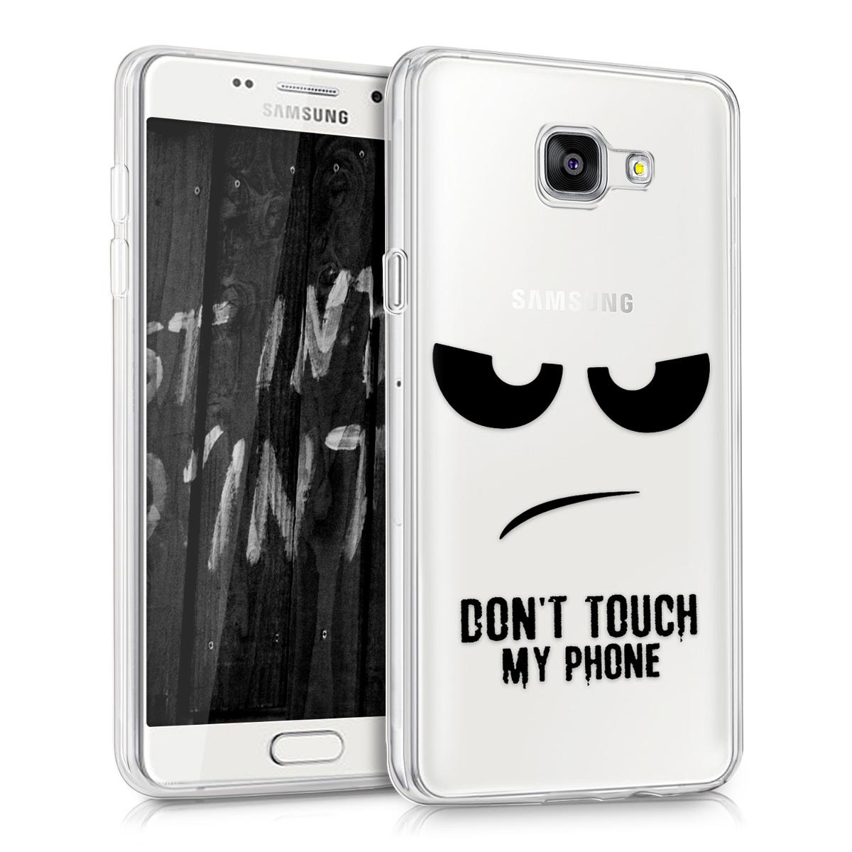 Kvalitní silikonové TPU pouzdro pro Samsung A5 (2016) - Do not Touch My Phone černé / transparentní