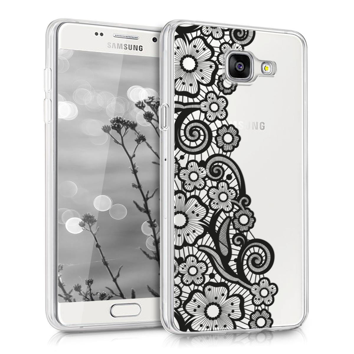 Kvalitní silikonové TPU pouzdro pro Samsung A5 (2016) - Sea of ??květiny Lace černé / transparentní