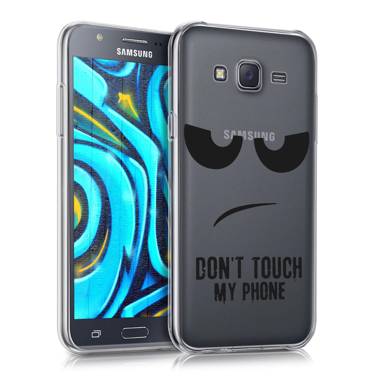 Kvalitní silikonové TPU pouzdro pro Samsung J5 (2015) - Do not Touch My Phone černé / transparentní