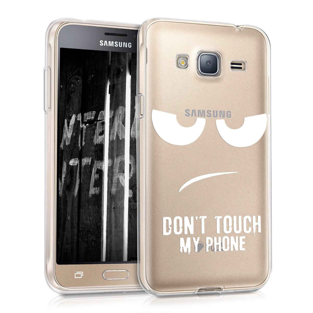 Kvalitní silikonové TPU pouzdro pro Samsung J3 (2016) DUOS - Do not Touch My Phone bílé / transparentní
