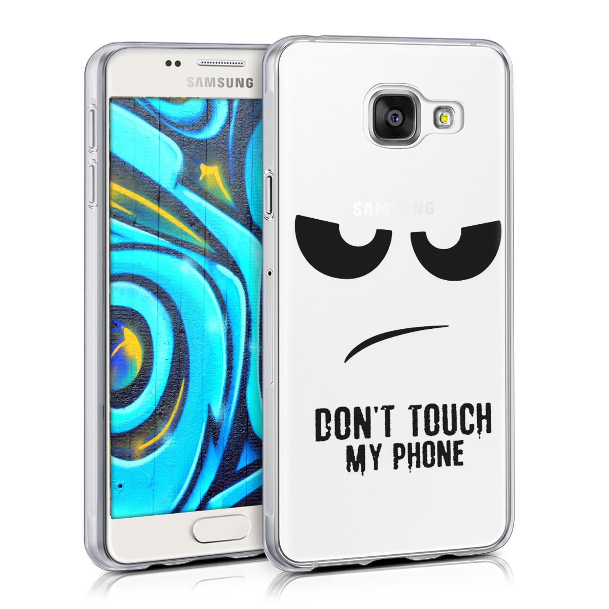 Kvalitní silikonové TPU pouzdro pro Samsung A3 (2016) - Do not Touch My Phone černé / transparentní