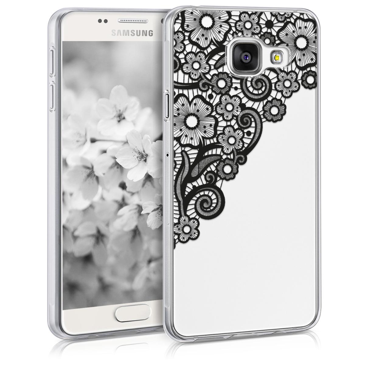 Kvalitní silikonové TPU pouzdro pro Samsung A3 (2016) - Moře květů Lace černé / transparentní