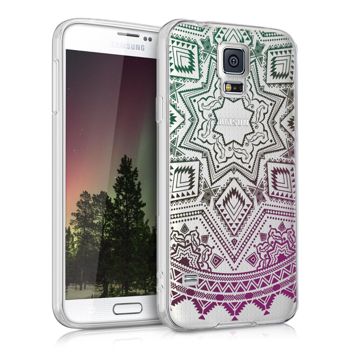 Kvalitní silikonové TPU pouzdro pro Samsung S5 | S5 Neo - Aztec Sun Benzín / tmavě růžová / transparentní