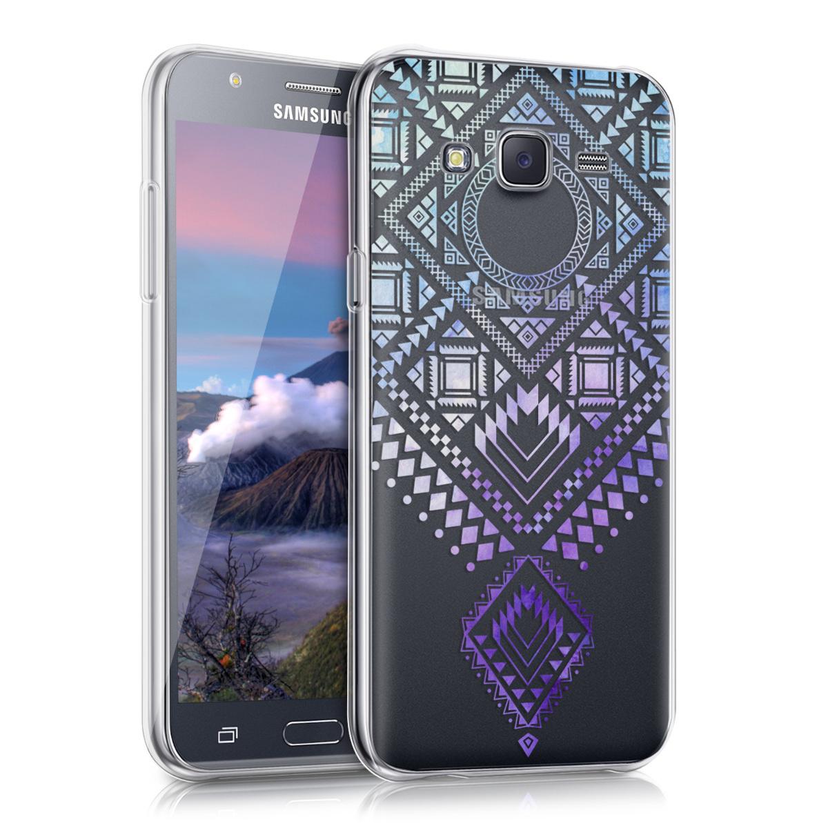 Kvalitní silikonové TPU pouzdro pro Samsung J5 (2015) - Aztec Diamond modré / fialové / transparentní