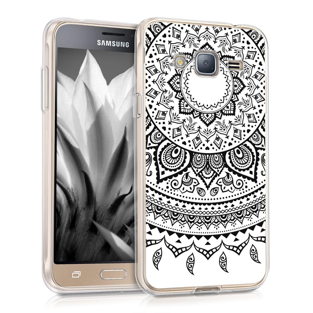 Kvalitní silikonové TPU pouzdro pro Samsung J3 (2016) DUOS - indické slunce černé / bílé
