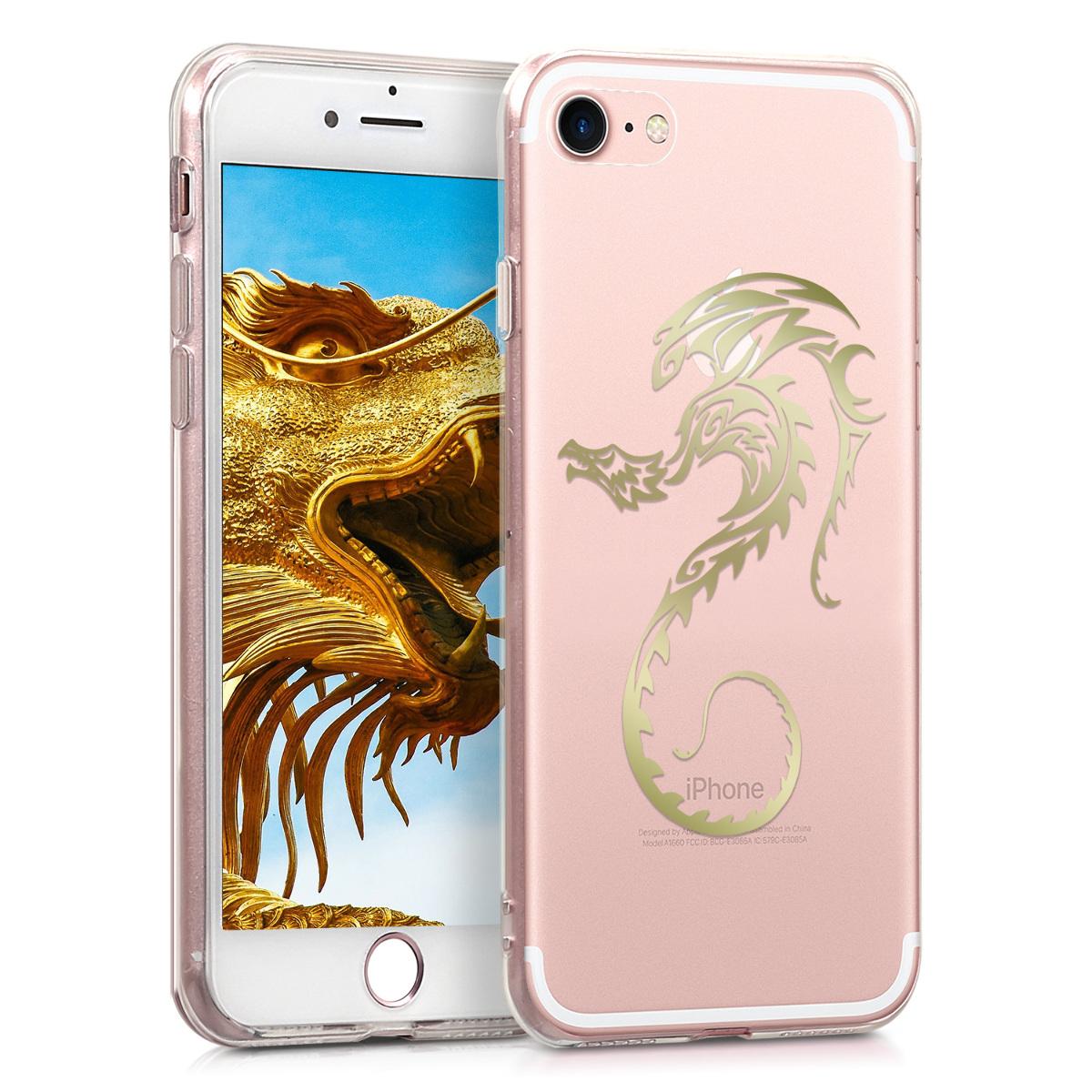 Kvalitní silikonové TPU pouzdro pro Apple iPhone 7 / 8 / SE  - Tribal Dragon Gold | Transparent