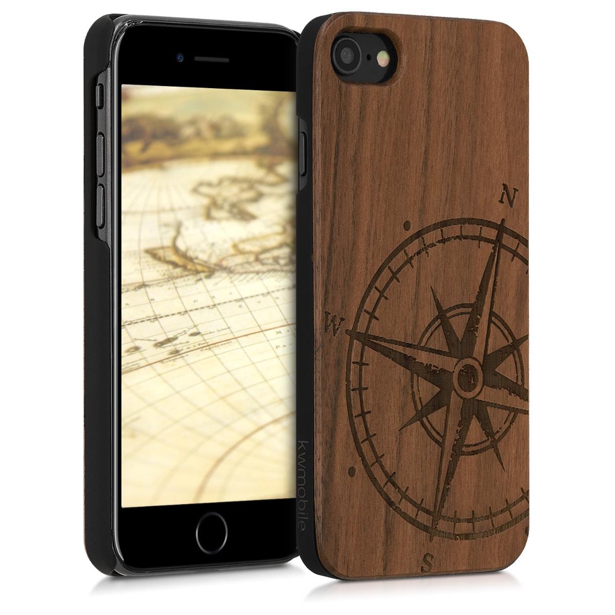 Dřevěné pouzdro pro Apple iPhone 7 / 8 / SE  - Navigační Compass Dark Brown