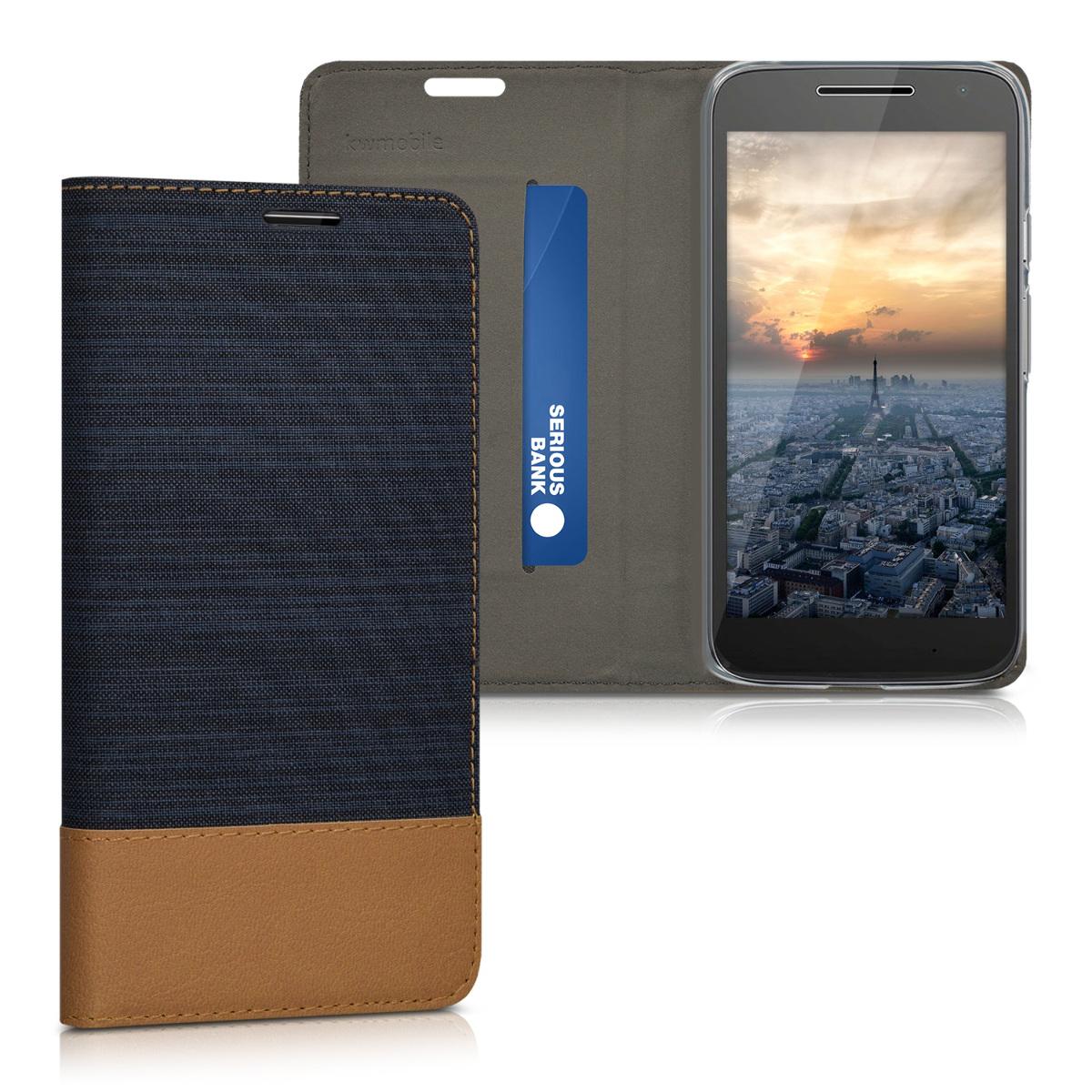 Textilní látkové pouzdro   obal pro Motorola Moto G4 Play - Tmavě modrá / hnědá