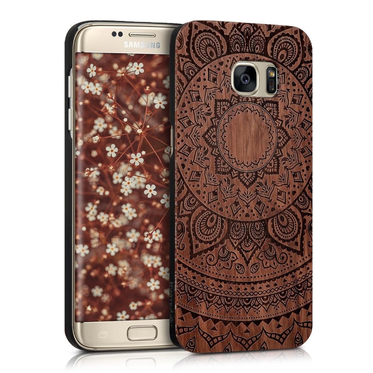 Dřevěné pouzdro pro Samsung S7 Edge - indické slunce Dark Brown