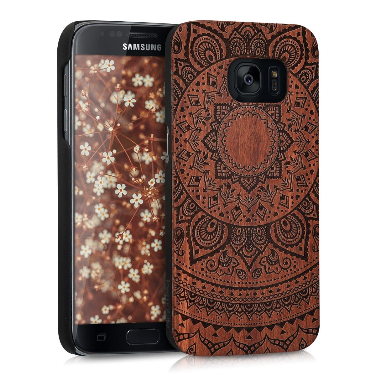 Dřevěné pouzdro pro Samsung S7 - indické slunce Dark Brown