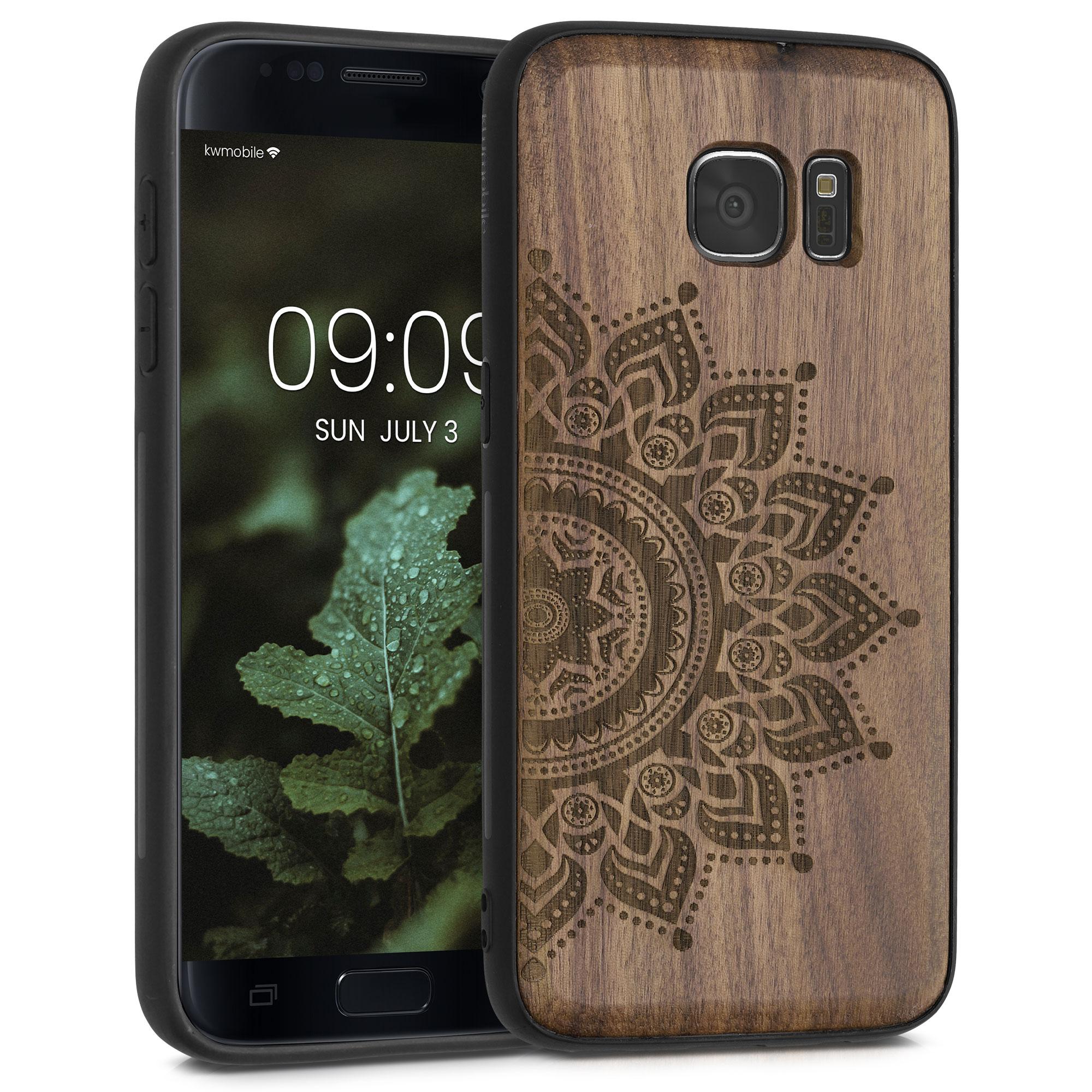 Dřevěné pouzdro pro Samsung S7 - Semi-květiny Dark Brown