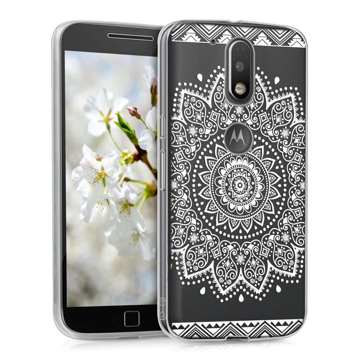 Kvalitní silikonové TPU pouzdro | obal pro Motorola Moto G4 / Moto G4 Plus - Květiny Bílá / průhledná