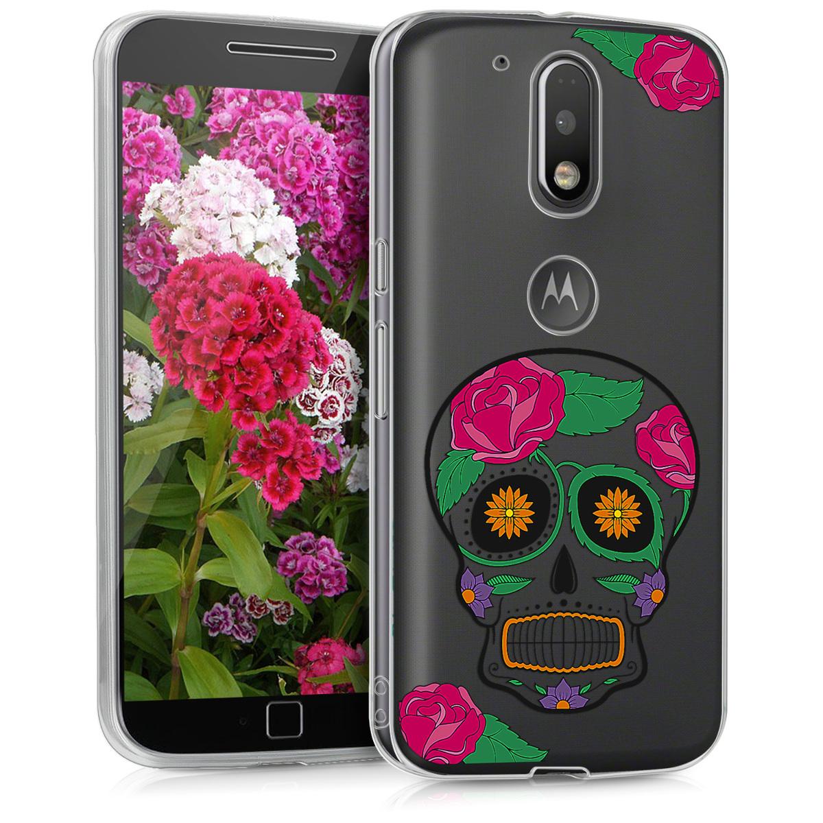Kvalitní silikonové TPU pouzdro | obal pro Motorola Moto G4 / Moto G4 Plus - Cukrová lebka Vícebarevná / průhledná