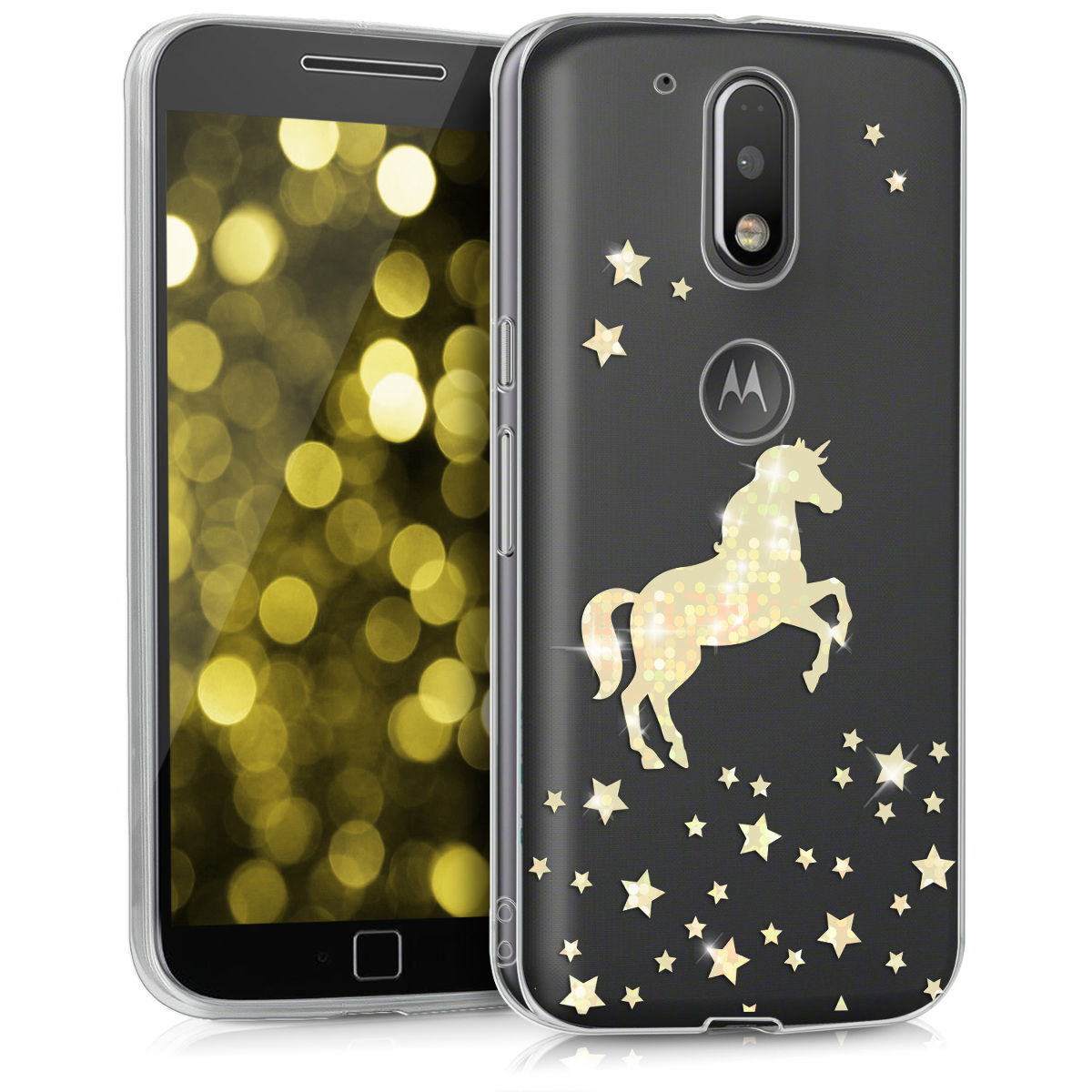 Kvalitní silikonové TPU pouzdro | obal pro Motorola Moto G4 / Moto G4 Plus - Unicorn Gold / Transparentní