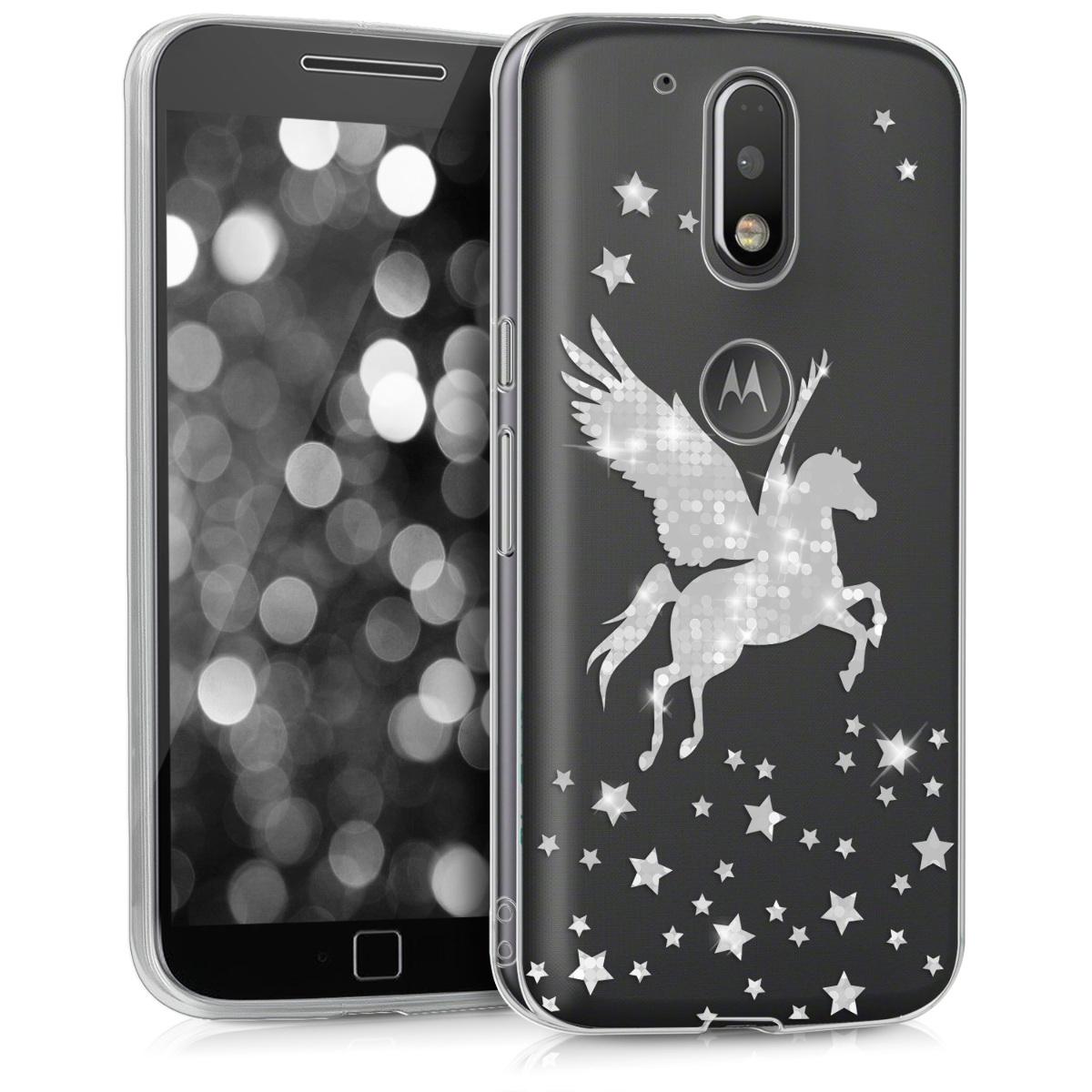 Kvalitní silikonové TPU pouzdro | obal pro Motorola Moto G4 / Moto G4 Plus - Pegasus Stříbrná / průhledná