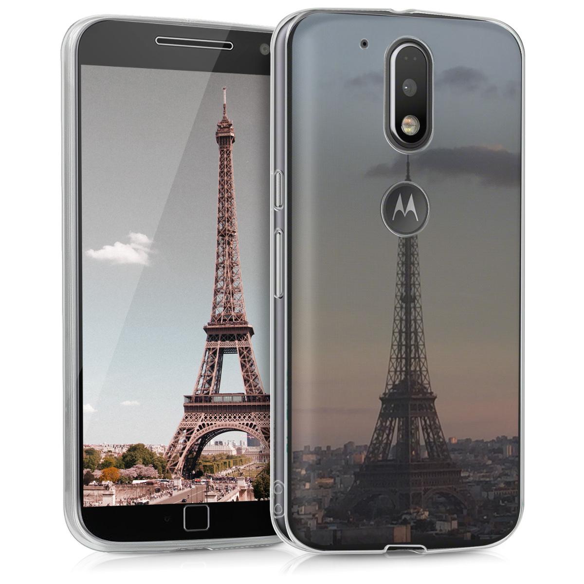Kvalitní silikonové TPU pouzdro | obal pro Motorola Moto G4 / Moto G4 Plus - Eiffelova věž antracitová / růžová / průhledná