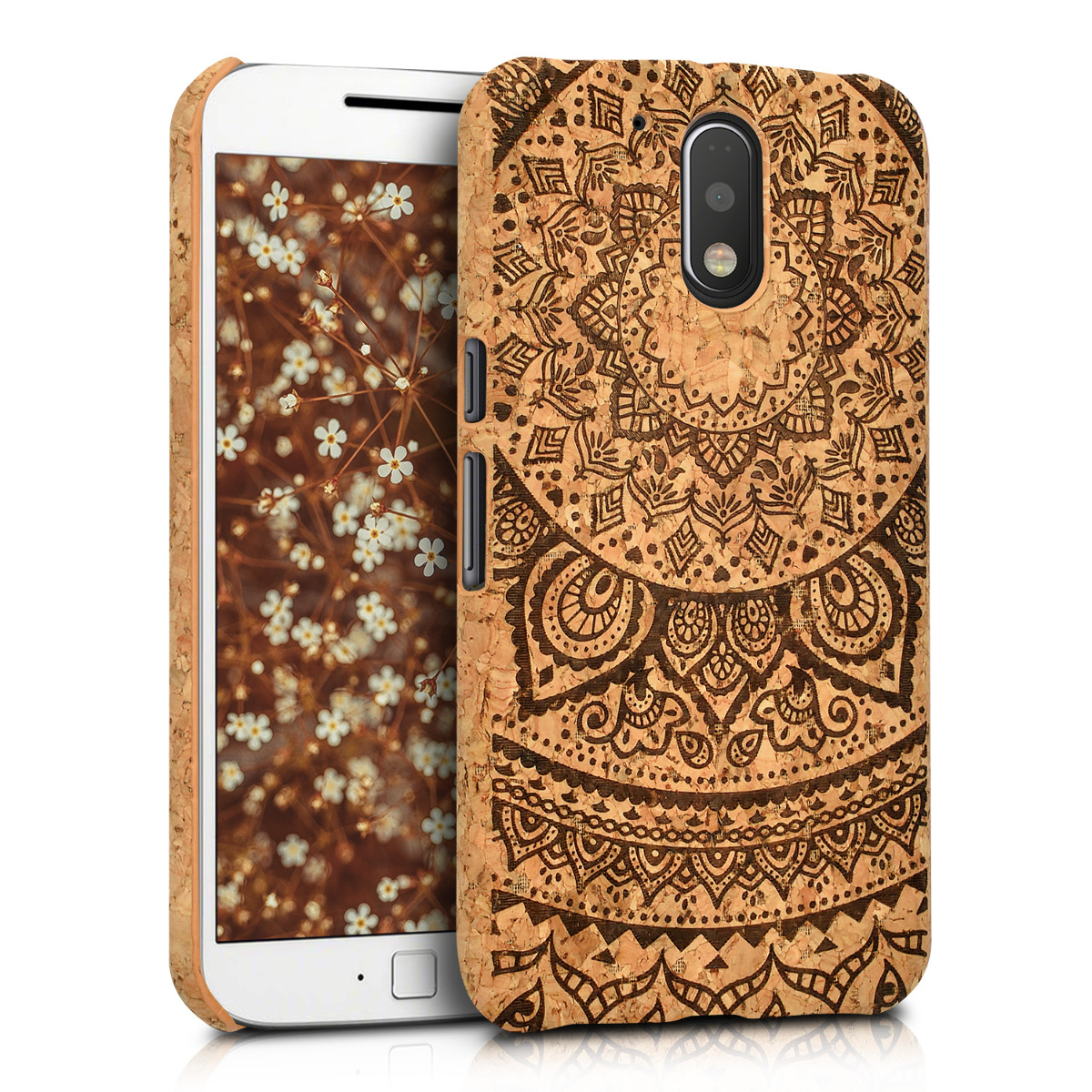 Korkové pouzdro | obal pro Motorola Moto G4 / Moto G4 Plus - Indiánské slunce Tmavě hnědá / světle hnědá