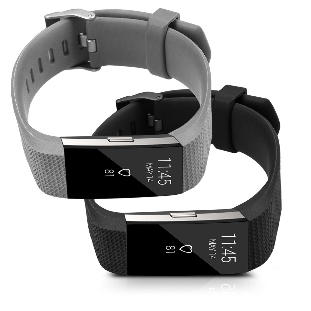 2x silikon ersatzarmband f r fitbit charge 2 fitnessband. Black Bedroom Furniture Sets. Home Design Ideas