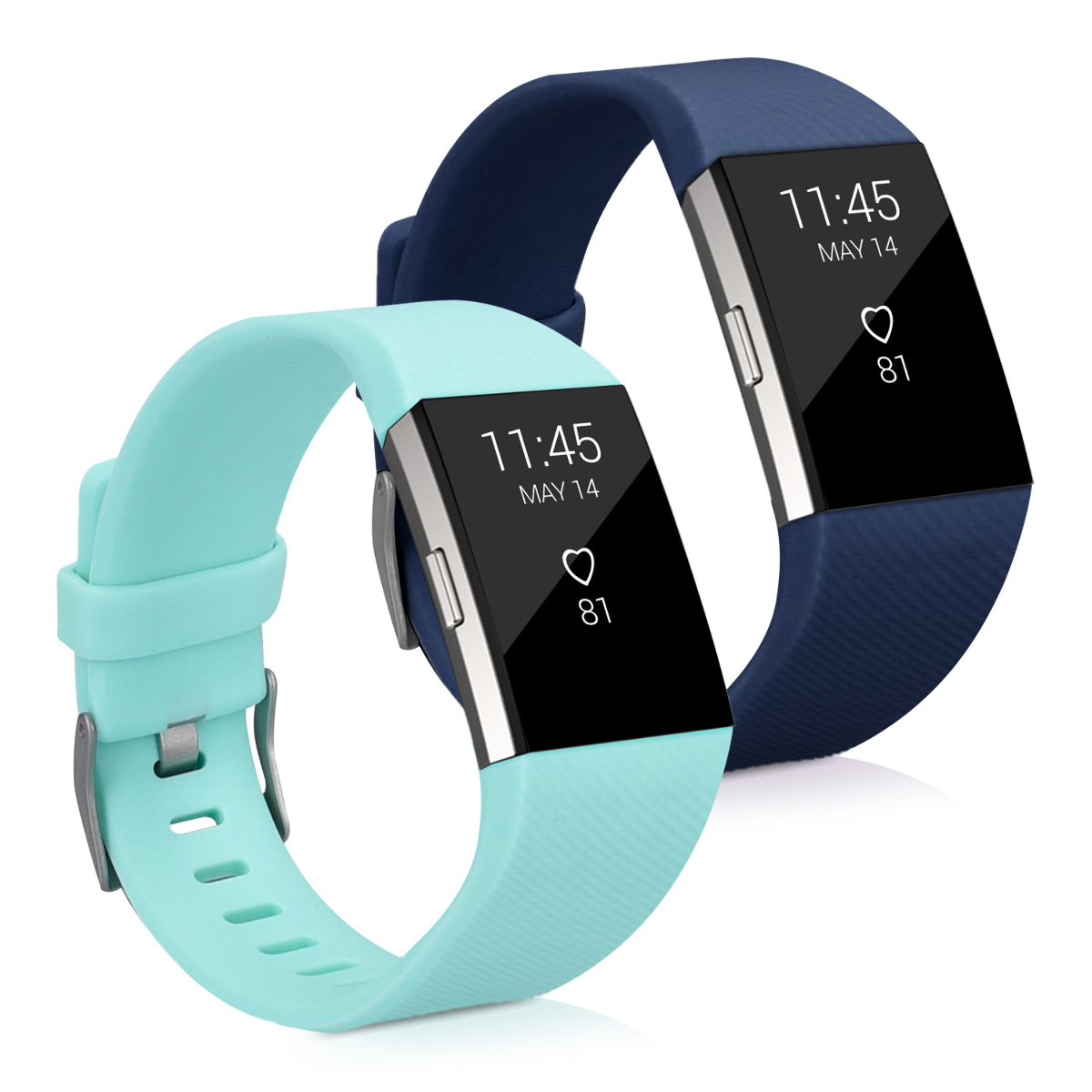 2x sport ersatz armband f r fitbit charge 2 dunkelblau. Black Bedroom Furniture Sets. Home Design Ideas