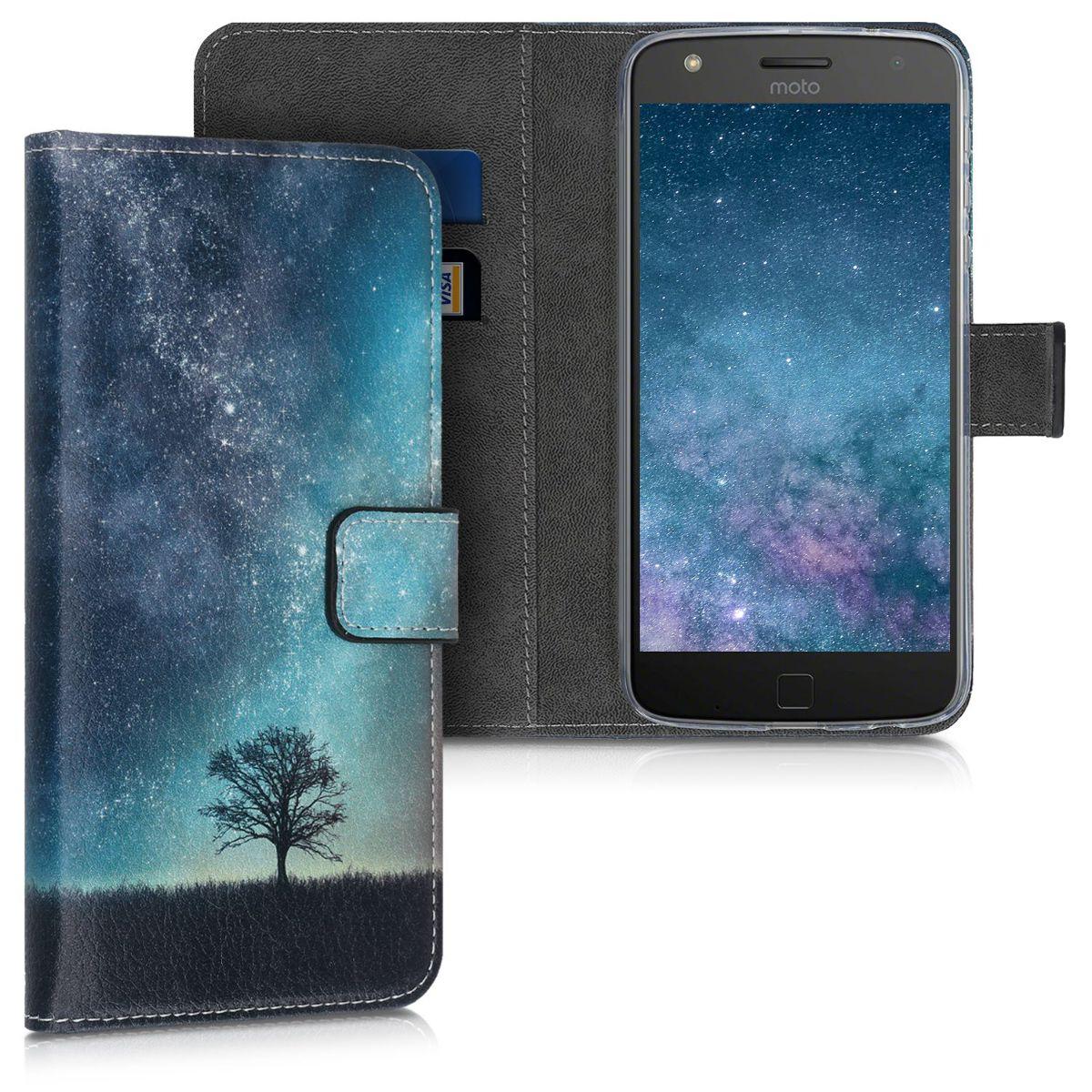 Kožené pouzdro | obal pro Motorola Moto Z Play - Cosmic Nature Modrá / Šedá / Černá