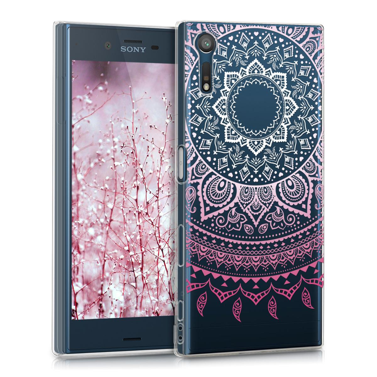 Kvalitní silikonové TPU pouzdro | obal pro Sony Xperia XZ / XZs - indické slunce růžové / bílé / průhledné