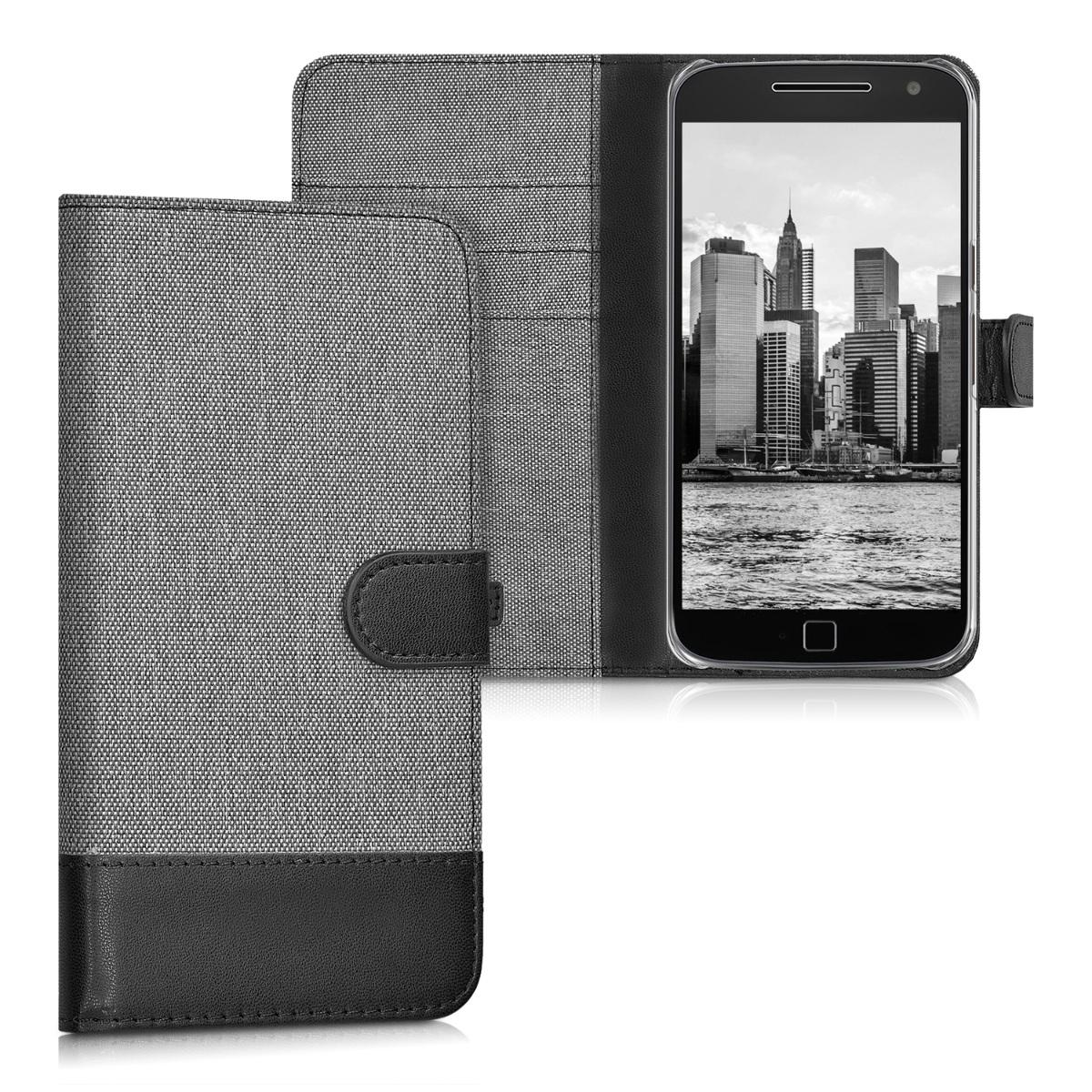 Textilní látkové pouzdro | obal pro Motorola Moto G4 / Moto G4 Plus - Šedá / černá