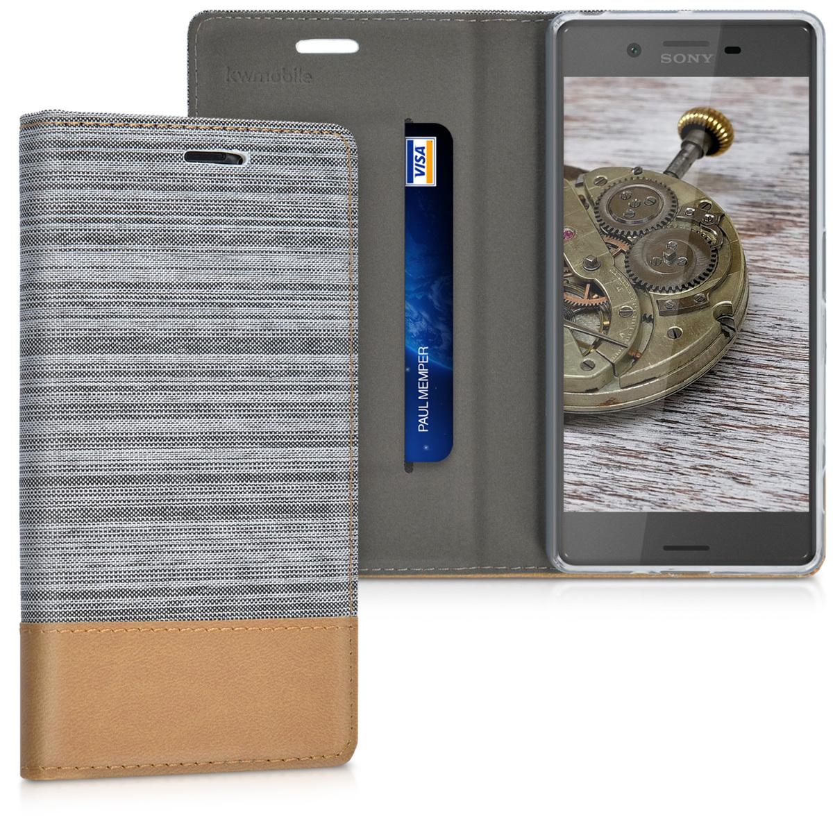 Textilní látkové pouzdro | obal pro Sony Xperia X - světle šedé/ hnědé