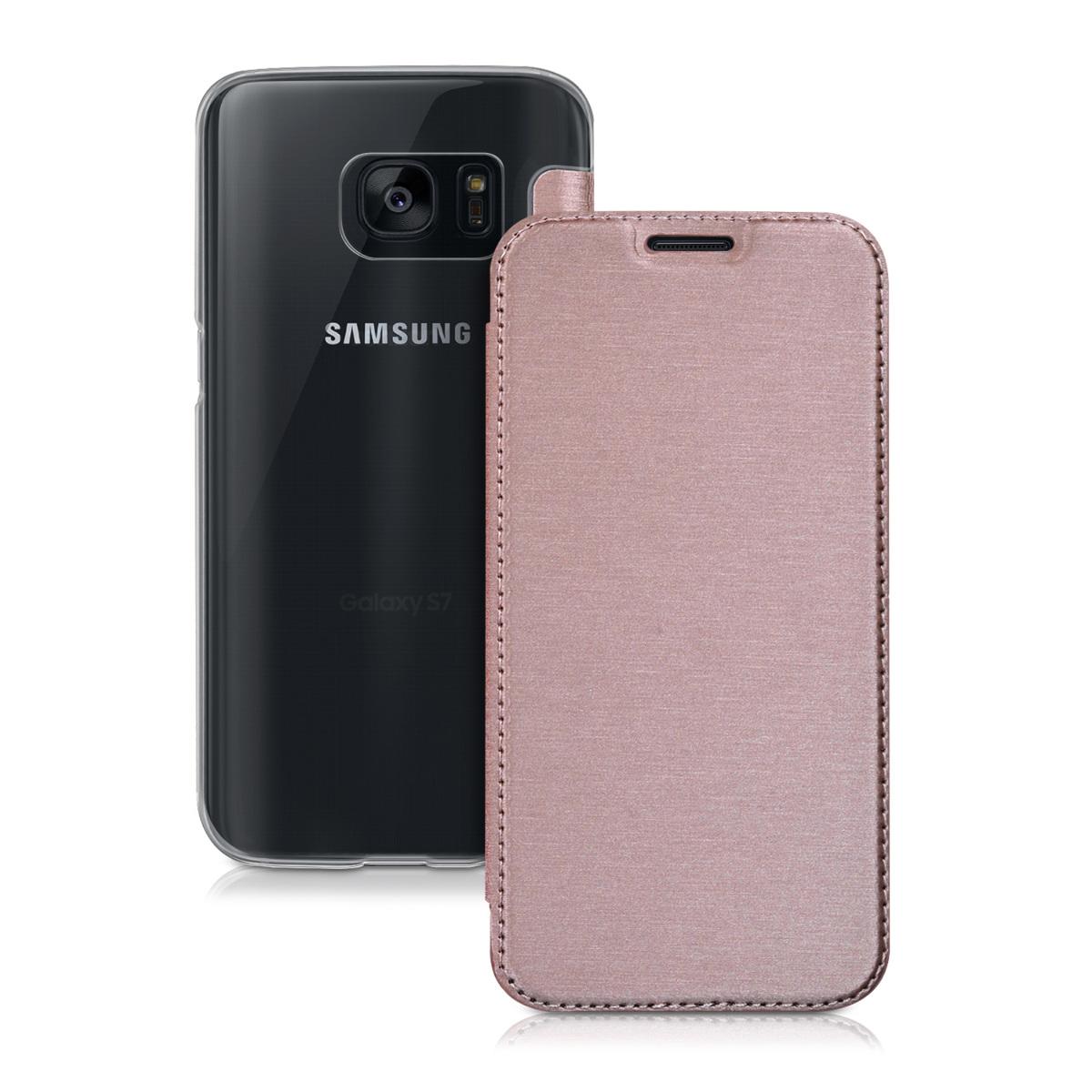 Kvalitní plastové pouzdro pro Samsung S7 - starorůžové rosegold / transparentní