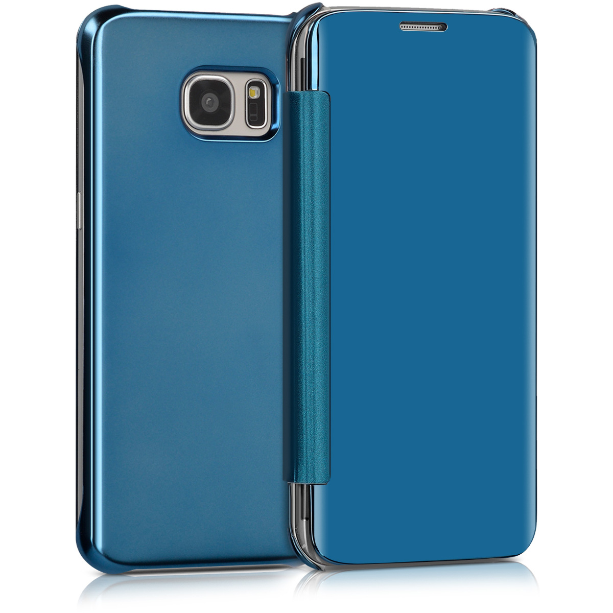 spiegel flip case f r samsung galaxy s7 edge blau schutzh lle klapp h lle cover ebay. Black Bedroom Furniture Sets. Home Design Ideas